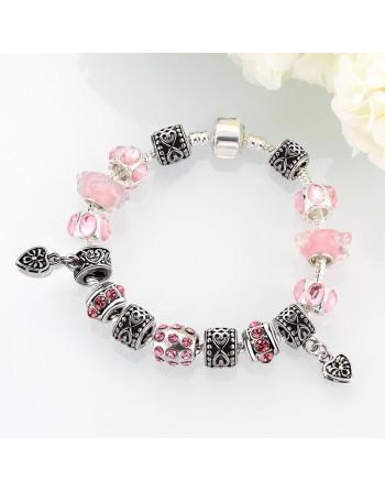 Bracelet pas cher charms coeurs rose